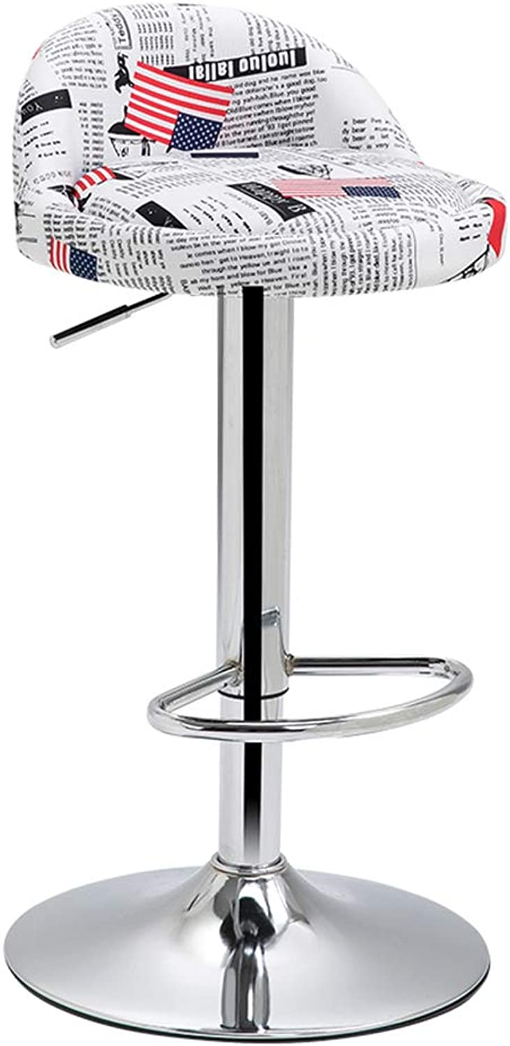 Barstools - Breakfast Bar Stools Adjust Gas Lift Kitchen Swivel Tall Barstools with Linen Fabric Round Seat 0509A (color   Pattern-3)