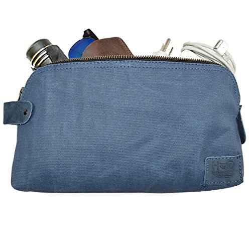 Waxed Canvas Large All Purpose Dopp Kit Utility Bag Handmade by Hide & Drink ::Blue Mar (0.14 Ounce Pencil)