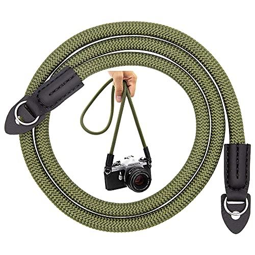 Cámara Correa De Hombro Cuello Cinturón, Strap de Algodón Suave para Cámaras Compatible con Todos DSLR como Nikon Canon Olympus Sony Panasonic Fujifilm, Verde(100CM)