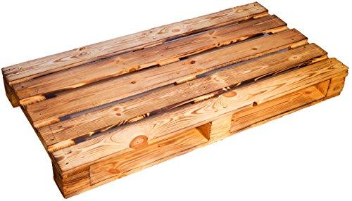 Kistenkolli Altes Land Palette ca 120 x 60 x 13 cm - Natur Weiss geflammt Möbelbau Palettnmöbel (GEFLAMMT)
