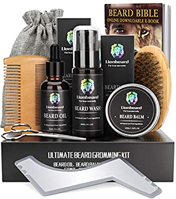 Beard Care Kit for Men Dad Beard Growth Grooming & Trimming, Beard Oil Conditioner, Balm Wax, Bristles Brush, Double-sided Comb, Moustache Scissors,Storage Bag, Ebook, Perfect Gifts Set for Him