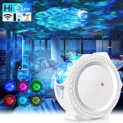 Star Projector Night Light, 3 in 1 Ocean Wave Galaxy Projector, Sky Lite with Moon, Music Sensor-Time Setting-Smart WiFi Control(Alexa/Google/APP), for Children Parties Bedrooms Dance Floor Decoration