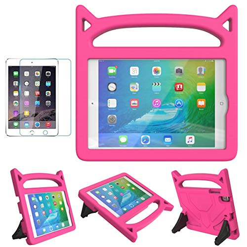 MOXOTEK Kids Case for iPad Mini 1 2 3 4 5, Cute Durable Shockproof Protective Handle Stand Case with Screen Protector for Apple 7.9 inch iPad Mini 5th (2019),4th,3rd,2nd,1st Generation, Pink