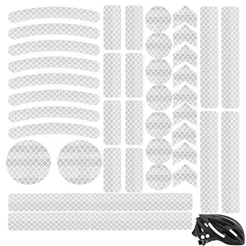 Adhesivos Reflectantes Pegatinas Reflectantes Impermeable Pegatinas Reflectantes Casco Moto para automóviles, Motocicletas, Bicicletas, trineos y Otros requisitos de Seguridad 40 Piezas (blanco)