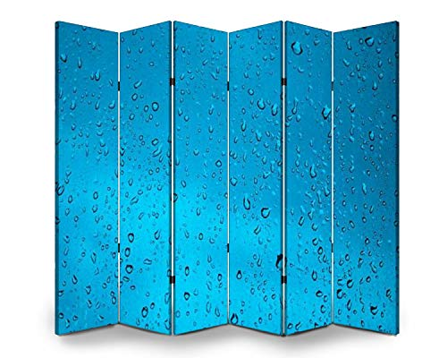 6 Panel Wall Divider Water Drops Texture Blue Background Folding Canvas Privacy Partition Screen Room Divider Sound Proof Separator Freestanding Protective Divider
