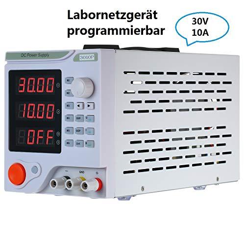KKmoon Labornetzgerät 0-30V 0-10A 4-stelliges LED-Display Programmierbares DC Netzteil Hochpräzises, einstellbares Schaltnetzteil Überlast- & Kurzschlussfest