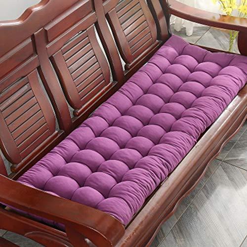 jHuanic Cojín de banco grueso, cojín largo para silla de jardín, cojín de repuesto con lazos, para vacaciones, relajante, patio, exterior, interior (morado, 48 x 120 cm)