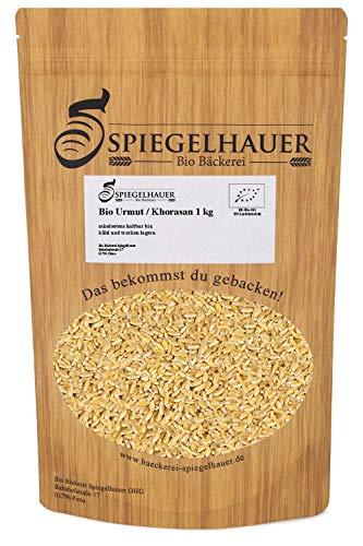 Bio Khorasan ganzes Korn 1 kg Urmut Urweizen keimfähig, naturbelassen, reich an Eiweiß – ein Qualitätsprodukt der Bäckerei Spiegelhauer