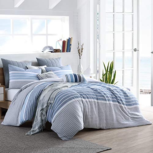 """Swift Home Cordelia Prewashed Yarn-Dyed 100% Cotton Gauze Stripe Duvet Cover Set, Oeko-Tex Certified,Button Closure, All Season - Blue, King/Cal King (104"""" x 92"""")(Comforter NOT Included)"""