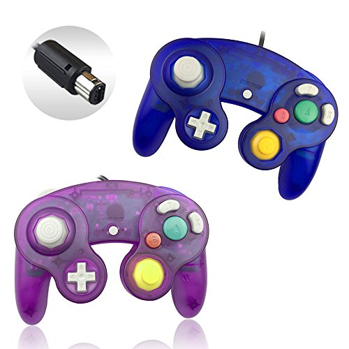 Reiso 2 Packs NGC Controllers Classic Wired Controller for Wii Gamecube( Clear Purple and Clear Blue)