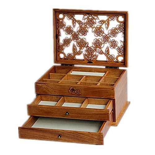 caja de reloj Caja de joyería Caja de madera maciza de gran capacidad Pendientes Caja de almacenamiento de collar de joyería Material de madera maciza pura Almacenamiento de tres capas de gran capaci