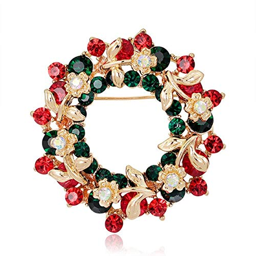 Christmas Brooches Pins Cute Bells Tree Elk Pin Badges Brooch Jewelry Gift-E