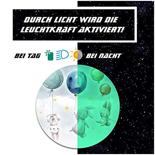yabaduu Schutzfolie für Tonie Lauscher Design Aufkleber Cover für Kopfhörer kindgerecht passgenau selbstklebend Folie Zubehör für Kinder Spielzeug Y055 (Nr. 42 Hasen Ballon, Nachtleuchtend)
