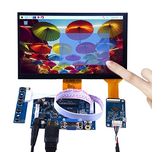 geeekpi 7 INCH 1024 x 600 Capacitive Touch Screen LCD Display HDMI Monitor DIY Kit for Raspberry Pi/Beagle Bone Black/PC/MacBook