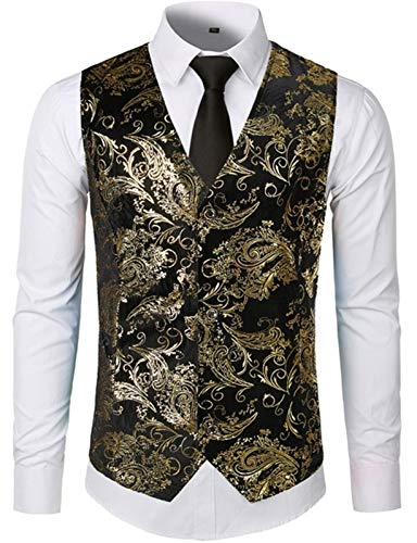 Suit Vest Men Shiny Bronzing Flower Slim Fit Sleeveless Wedding Tuxedo Dress Vest Waistcoat Men (Color : Gold, Size : 2XL.)