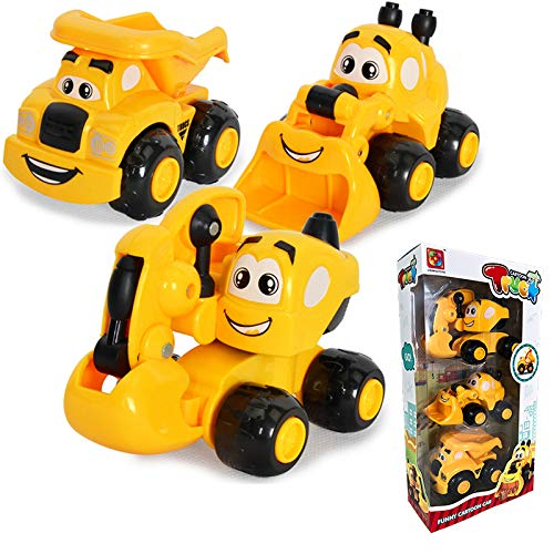 Fun Construction Vehicle Toy Set, 3 Cartoon Engineering Trucks for Boys Toddlers, Racing Game Excavator Bulldozer Dumper Mini Cars Birthday Gift