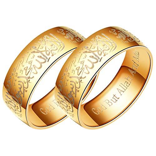 HFSKJWI Anillo con Letras de Las Escrituras,Joyería de Acero de Titanio,Anillo de Acero Inoxidable Chapado En Oro de 8 Mm para Hombre,Estilo Musulmán,Simplicidad Elegante, Dorado, 2 Piezas,No. 10