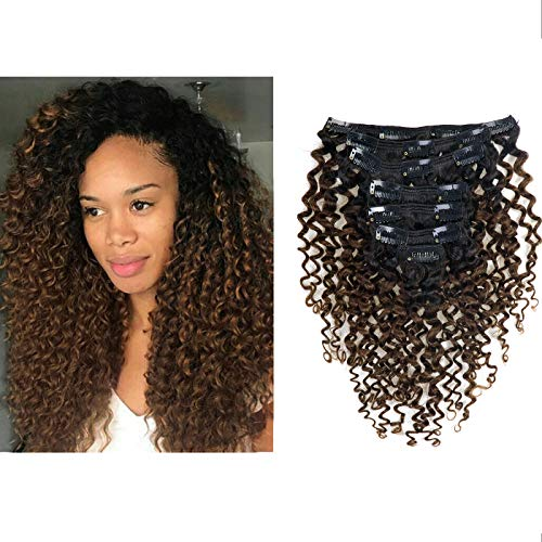 Clip in Human Hair Extensions Afro Jerry Curly 3B 3C Real Hair Clip in Extensions For Black Women Natural Black Color 100% Brazilian African American Hair Extensions (16 inch, Jerry Curly #1B/4)