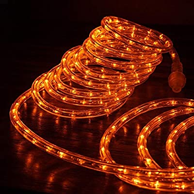 """West Ivory 1/2"""" Orange LED Rope Lights 2 Wire Accent Holiday Christmas Party Decoration Extendable Lighting (10', 25', 50' ft Option)
