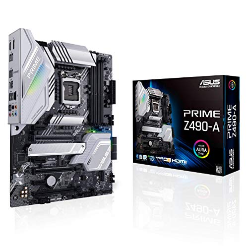 ASUS PRIME Z490-A, Scheda Madre Intel Z490 LGA 1200 ATX con Doppio M.2, 12 + 2 Fasi di Potenza Dr.MOS, HDMI, DP, SATA 6 Gbps, Intel 2.5Gb Lan, USB 3.2 Gen 2 Type-C, Thunderbolt 3, Aura Sync RGB