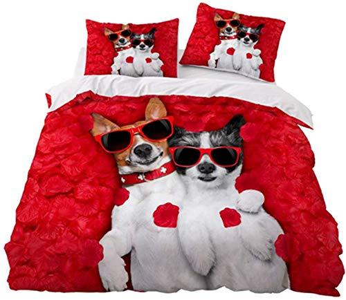 HJSM3 piezas Superb Funda de edredón de perro, diseño 3D de algodón para niña, niña, niño de microfibra, juego de cama con sábana bajera y funda de almohada (5,individual 140 x 200 cm)