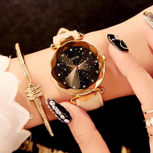 Relojes de Mujer Starry, Sky Dial Diamante Corte Suede PU Cinturón Cuero Trendy Impermeable, Chicas Moda Pulsera,011
