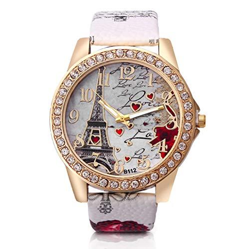 Dosige Torre Eiffel Amor Pulsera del Reloj Reloj de Cuarzo de Pulsera Mujeres Accesorios de Moda( Blanca)