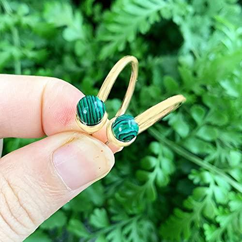 LOKILOKI Turquesas Opal Stone Amatistas Malaquita Coral Perla Piedras En Forma De C Pendientes De Botón para Mujer Pendiente De Perforación