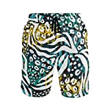 Mens Swim Trunks Animal Leopard Print Leaves Quick Dry Beach Shorts Summer Surf Board Shorts (Size XXL)