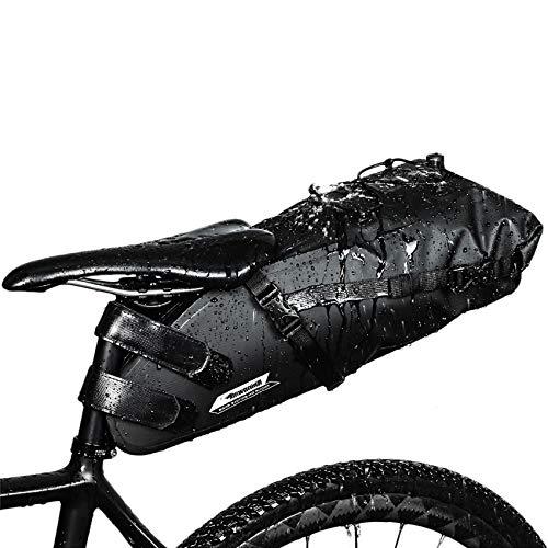Rhinowalk Borsa della Sella per Bicicletta Impermeabile Borsa Sottosella con Tasca Borsa Bicicletta da Sella per Ciclismo/MTB/Bici (Nero-10L)