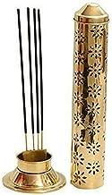 SHOPERIYA® PURE Brass Dhoop Batti Stand/ Agarbatti Incense Holder for Pooja Ibadat Ardas Pray Standard Cone Holder/ insences Sticks for Dust and Burn Safty Ash Catcher Agardan (27 x 8.5 x 5.1 cm, 105 gm Golden) (1)