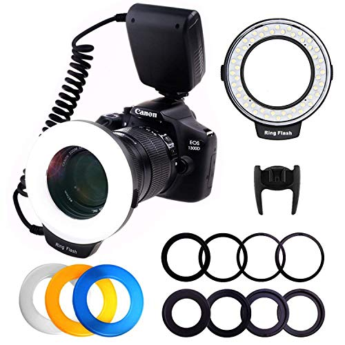 Macro LED Ringblitz, PLOTURE Flash Light Makrofotografie-Licht mit LCD Display Power Control, 4 Blitzdiffusoren, 8 Adapterringe für Canon Nikon und andere...