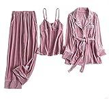 Azz Juego de Pijamas para Mujer, 3 en 1, Velur para Mujer, de Forro Polar Suave, con Cuello en V Profundo Rosa Rosa M