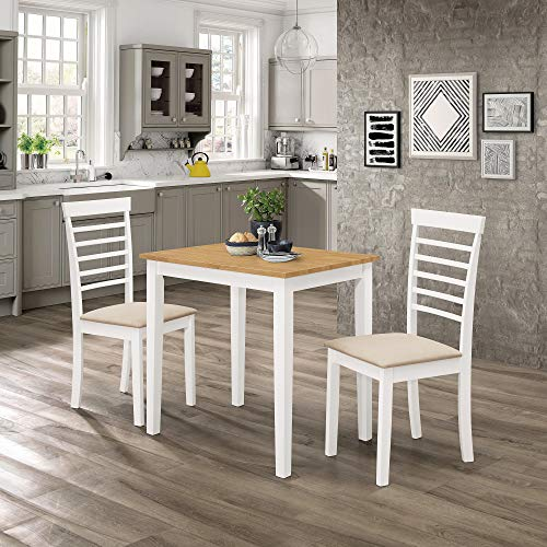 Ledbury Small Solid Wooden Dining/Kitchen Table and 2 Chairs Set in White Painted and Oak Finish