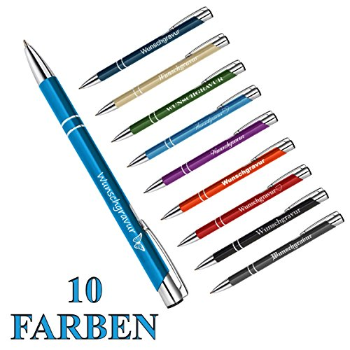 polar-effekt 1 Metall Oleg Kugelschreiber mit Gravur des Namens - Personalisierte Geschenk Mitbringsel - blau schreibend - Geburtstagsgeschenk - Farbe türkis