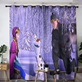 Elliot Dorothy Frozen Anna y Kristoff Niños Cortinas térmicas aisladas para sala de estar, cortina impermeable de ventana para decoración de aislamiento térmico de 72 x 63 cm