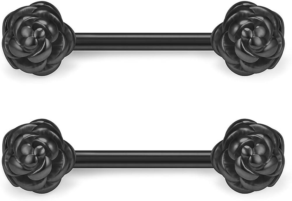 Ruifan 316L Stainless Steel Vintga Flower Rose Nipple Shield Barbell Ring Bar Body Piercing 14G 2-12PCS