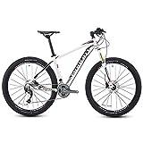 FANG 27 Velocidades Bicicleta Montaña, Super Ligero Bicicleta de Montaña Hardtail, Cuadro Aluminio Bicicleta De Montaña Portátil,Blanco