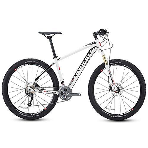 DJYD Mountain Bikes, 27,5 Zoll große Reifen Hardtail Mountainbike, Aluminium 27-Speed Mountain Bike, Männer Frauen Fahrrad Adjustable Seat, Schwarz FDWFN (Color : White)
