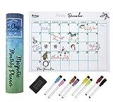 Planificador mensual magnético para nevera, calendario de pizarra blanca A3, organizador familiar perfecto con 8 marcadores de borrado en seco y caja de regalo incluida por The Classy Planner