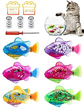I-SHUNFA Interactive Swimming Robot Fish Toy for Cat and Dog with LED Light Activated in Water Magical Electric Toy Stimulate Your Pet s Hunter Instincts Best Gift for Your Pets  6 Pcs