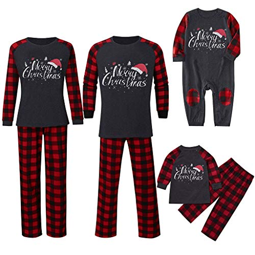 VEKDONE Matching Family Pajamas Sets Merry Christmas Letter Printed Reindeer Long Sleeve Red Plaid Pants Xmas Loungewear