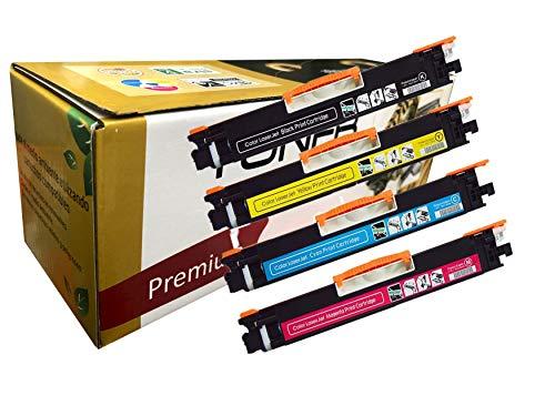 4 Toner Generico Laser CE310 CE311 CE312 CE313 CF350 CF351 CF352 CF353 para su Uso en CP1025, Cp1025NW Laserjet Pro 100 Color MFP M175nw, M275 MFP. MFP M176, M177, M177fw Color NEGRO AZUL AMARILLO ROJO