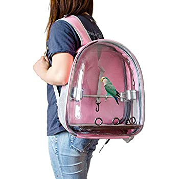 Sobotoo Sac de transport pour perroquet - Sac à dos transparent - Respirant à 360 ° - Avec gobelet - Pour voyage en plein air - Rose