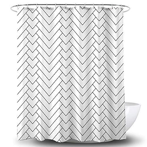 NEWUEBEL Duschvorhang, geometrisch, wasserdicht, 183 x 183 cm, Weiß/Schwarz 72