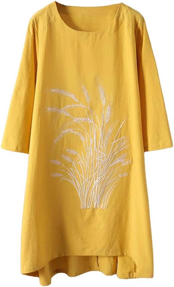 Minibee Women's Linen Dress Tunic Blouse Pullover Flower Embroidered High Low Shirt