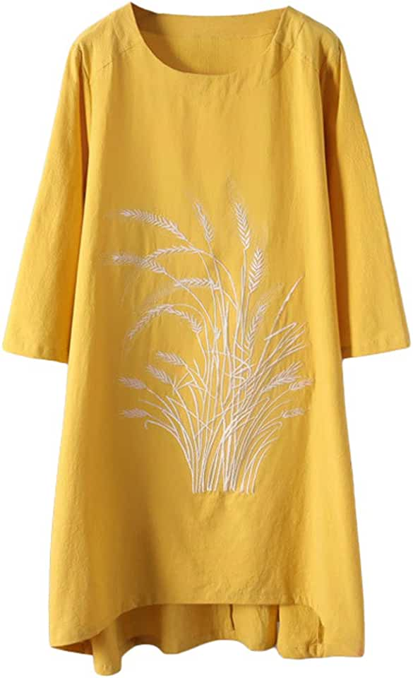 Minibee Women's Linen Dress Tunic Blouse Pullover Flower Embroidered High Low Shirt