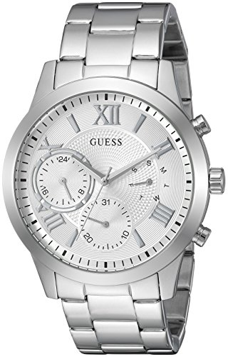 GUESS  Classic Stainless Steel Bracelet Watch with Day, Date + 24 Hour Military/Int'l Time. Color: Silver-Tone (Model: U1070L1)
