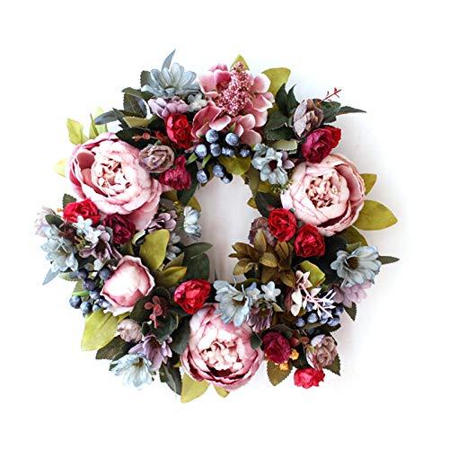 """KunmniZ 14"""" Peonies Berries Wreath Front Door Wreath - Handcrafted Wreath for Home Decor"""