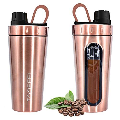 TOOFEEL Protein Shaker 530ml Stainless Steel Shaker  Diät Shaker   Edelstahl Eiweiß Shaker Body Nutrition Eiweiß Shaker Wasserflasche Protein-Shaker, auslaufsicher